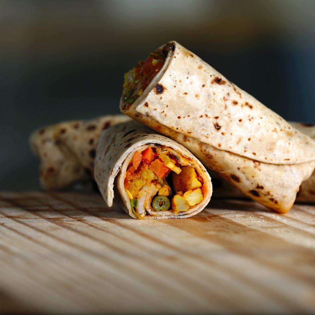 Burrito vegano con soja texturizada